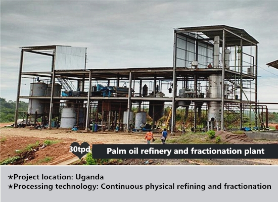 30tpd continuous palm oil refinery and fractionation plant project in Uganda