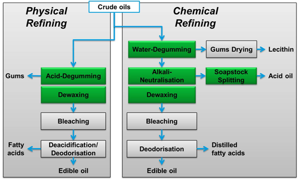 physical refining and chemical refining